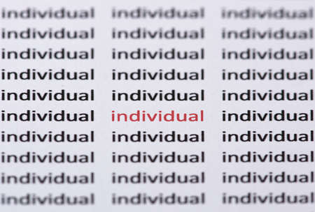 shallow  focus: The word individual highlighted in red & with shallow focus amongst similar black text