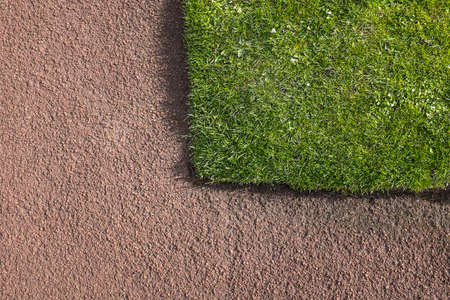 horticultural: Corner of green grass lawn bounded by red tarmacadam path. Construction  horticultural detail