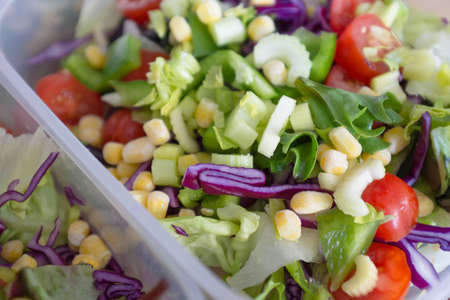vegetable salad: Mixed healthy vegetable salad meal in lunchbox
