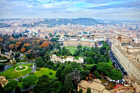 From the Petersdom an aerial view of Vatican Park, Italy in a travel and tourism concept