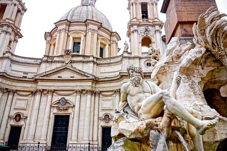 fountain Zeus in Berninis, Piazza Navona  in Rome, Italy