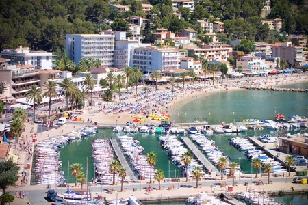 Aerial view of Port de Soller outdoors in a valley with a mediterranean sea port