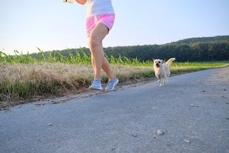 Woman with a dog running down a gravel street in a country field in a scenic landscape conceptual of a summer seasons Stok Fotoğraf