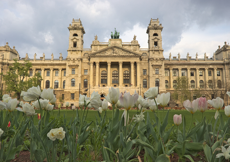 Field of tulips in front of hungarian Museum of Ethnography at Kossuth square in Budapest. 報道画像