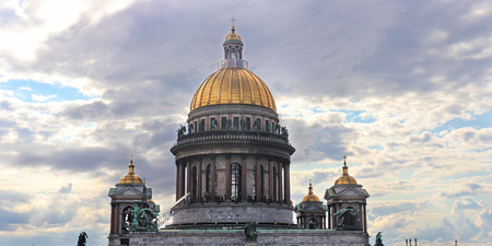 Saint Isaacs Cathedral in St. Petersburg higher viewing angle, Russia.