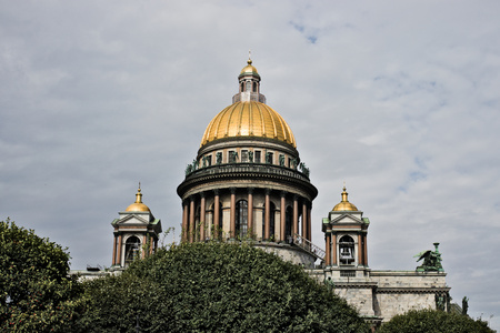 Saint Isaac's Cathedral in St. Petersburg with bushes, Russia.