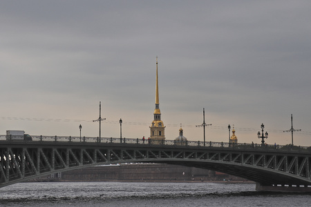 Peter and Paul fortress in St. Petersburg seen from the canal behind a bridge, Russia. 写真素材