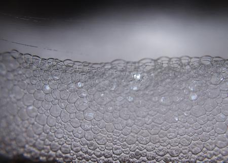 White bubble foam side view.