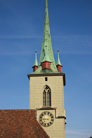 Close up of Nydegg Church in the old town of bern, the capital of switzerland.