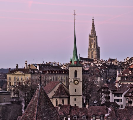 Old town of bern with Minster and nydegg church. 写真素材