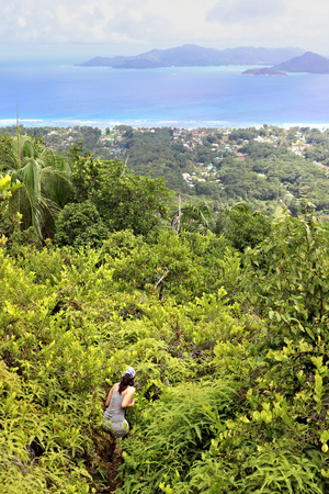 Hiker walking through bushes with scenic view of coastlines, seychelles.