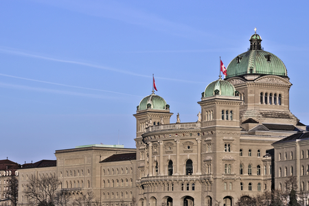 The Federal Palace (1902), Parliament Building (Bundeshaus) housing the Federal Council, Berne, capital city of Switzerland, Europe.