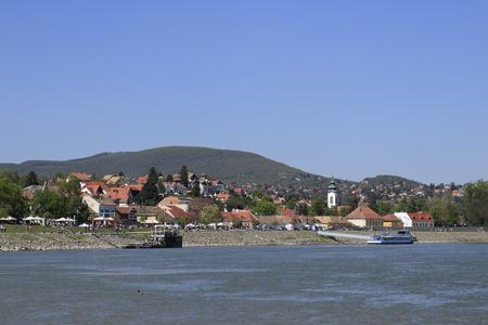 Szentendre village skyline seen from across the river, Hungary