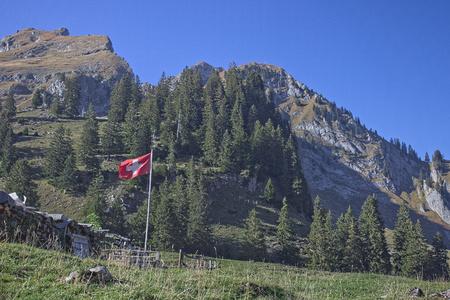Swiss flag waving in the wind in alpine region.