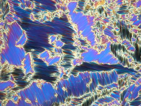 Flüssigkristall in seinem Flüssigkristallzustand unter einem Mikroskop mit polarisiertem Licht, das eine blaue Textur bildet.