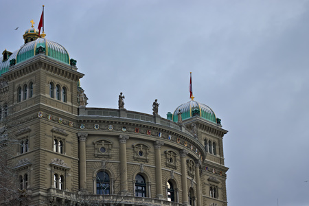 Parliament building (Bundeshaus) in Bern side view. Banque d'images