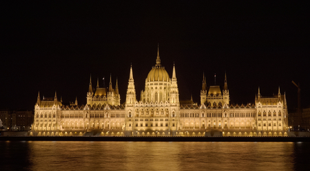 Hungarian Parliament building central perspective across danube river at night