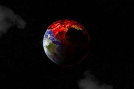 Earth halfway burning seen from outer space symbol of global warming or an apocalypse and disaster.