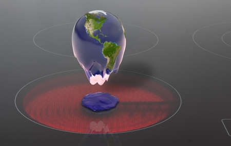 Global warming shown by earth melting on heating plate or stove. Concept of climate change, ice melting and global warming.