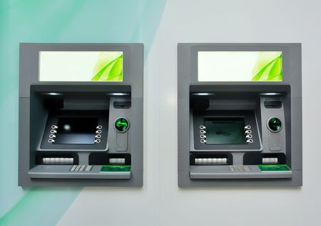 automated teller: Two ATM - Automated Teller Machines.