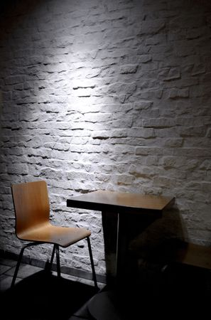 Single chair in minimalist interior photo