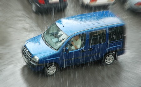Van covered in rain drops driving Stock Photo - 7206092
