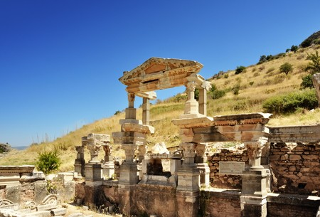 This photograph represent beautiful heritage ruins of Fountain of Traian in Ephesus heritage site. Selcuk region, Turkey. photo