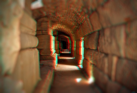 Beautiful 3D anaglyph stereo image of a empty tunnel. Great religion, travel, ecologycal concept for diverse advertising materials. To view this image you need a pair of stereo glasses with cyan and red glass colors. photo