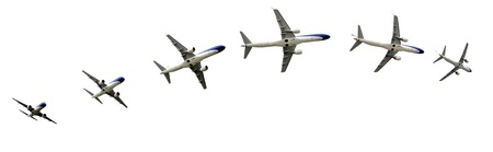 Commercial airline passenger jet airplane in flight. Great details for your advertising broshure. Stock Photo