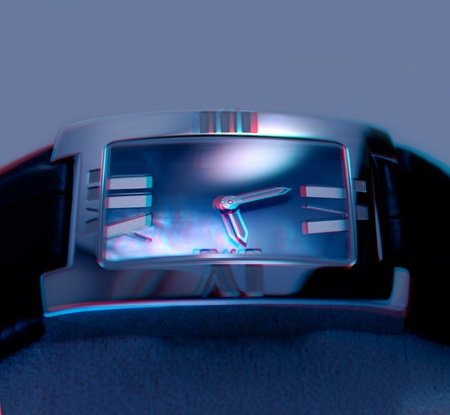 Beautiful 3D anaglyph stereo image oBeautiful luxury platinum watch in store. Extreme close-up, great dof. Useful file for your magazine advertising and other needs. To view this image you need stereo glasses. photo