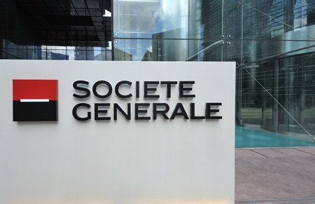 bank western: Paris, France - July 14, 2011: La Defense district shows the entrance of French banking group Societe Generale headquarters. Societe Generale is the 13th largest bank in Europe with net profit $1.3bn USD for Q1 2011 and continue to be one of the most valu