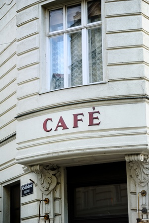 French cafe insignia in Vienna, Austria. Useful file for your new or existing food and drink business