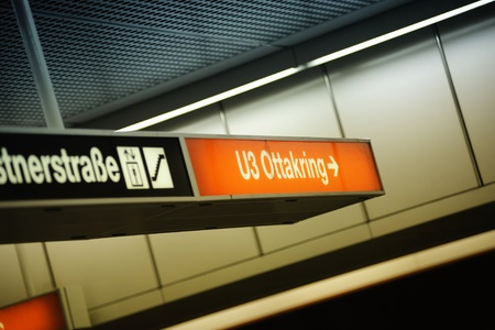 u bahn: Underground (U-Bahn) sign in station U3 - Ottakring, Vienna, Austria. Ottakring is the 16th District in the city of Vienna, Austria. It is located west of the central districts, north of Penzing and south of Hernals. Ottakring has some heavily populated Editorial