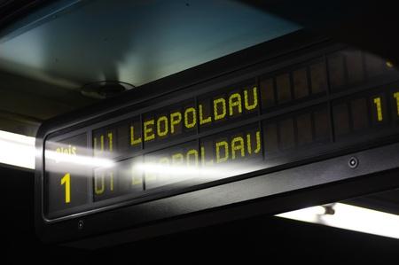 u bahn: Underground (U-Bahn) sign in station U1 - Leopoldau, Vienna, Austria