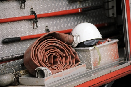 Details of rescue and firefighting truck equipment. Useful file for your brochure about fire rescue teams etc/ Stock Photo - 11531509