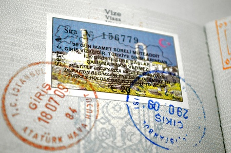 This photograph represent a passport visa and stamps - Turkey Stock Photo - 11583295