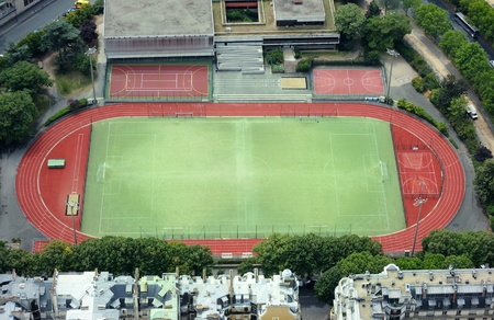 Three stadium soccer field seen from above. Useful file for your school , college, kids club brochure, flyer website or website. Stock Photo - 12240555
