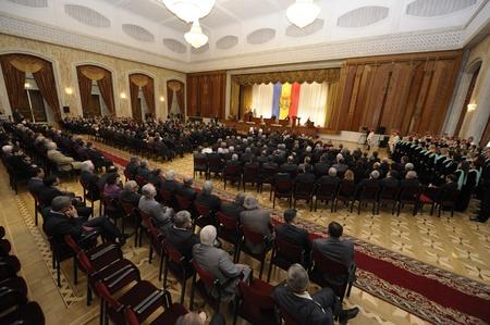 feestelijke opening: De grote zaal van het Paleis van de Republiek, waar de inauguratie van Moldavië