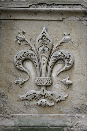 Fleur-de-lis symbol on street of Florence, Italy. This is also the emblem of the city of Florence. Useful file for your site, brochure of flyer about traveling to Florence, Italy.