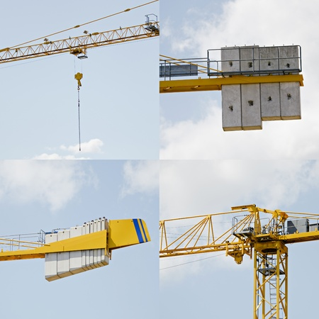 Four construction crane details on blue sky background  Useful file for your construction advertising campaign, flyers and other media needs  Stock Photo - 14016783