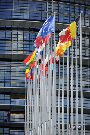 Flags in front of the European Parliament, Strasbourg, Alsace, France. photo