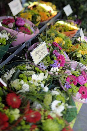 Bouquets at March&eacute, aux Fleurs - famous flower market in Paris, France. photo