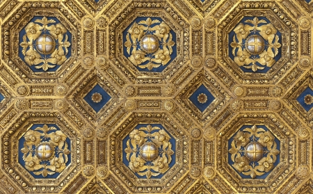Golden renaissance ceiling pattern in Palazzo Vecchio in Firenze (Florence), Italy. Useful file for your article, flyer and site about interior design, italian architecture and history.