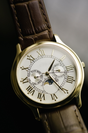 wrist: Fine Swiss fashionable precision clockwork  wrist watch  Stock Photo
