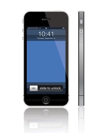 Frankfurt an Main, Germany - 12 September 2012: Detailed illustration of the new Apple iPhone 5 released on 12 september 2012 報道画像