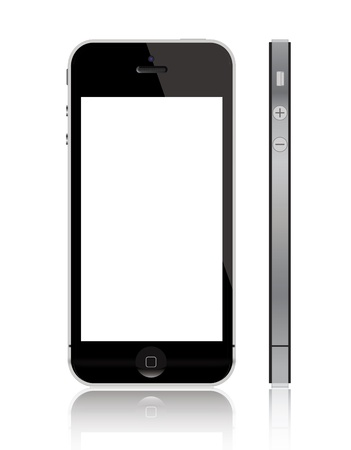 Frankfurt an Main, Germany - September 12, 2012: New Apple iPhone 5 displaying a blank white screen. The iPhone 5 is the latest touchscreen slate smartphone and the sixth generation iPhone, developed by Apple Inc. Banco de Imagens - 15180498