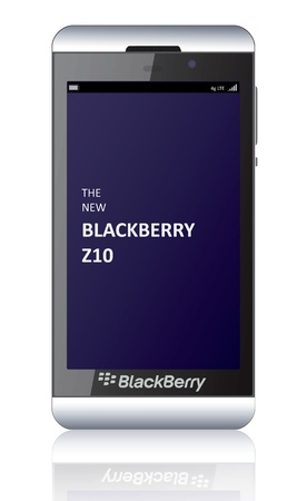 Illustration of the new smartphone BlackBerry Z10 launched in early 2013. The phone will run on a dual core 1.5GHz TI OMAP 4470 processor and will support a quad band radio featuring HSPA+UMTS, quad band GSMGPRS and quad band LTE bands 2, 4, 5, 13, 17.