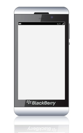 Illustration of the new smartphone BlackBerry Z10 launched in early 2013 with blank screen.