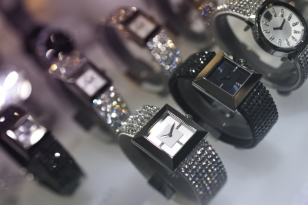 Luxury watches on display in a jewelry store Stock Photo