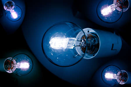 Composition of halogen lightbulbs on black background Stock Photo - 17723694
